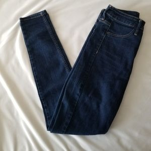 H&M High Waist Dark Wash Denim Skinny Jeans
